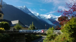 Walking up to the cable car station, we can see Mont Blanc for the first time.  It's that snow covered peak towards the right.  15781 feet high.  That banner makes it look like there's some kind of event going on this week.