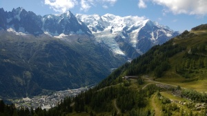 Looking down into Chamonix.  We've come from the top right.