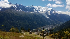 Looking back at Chamonix and Mont Blanc (while eating that blueberry tart).