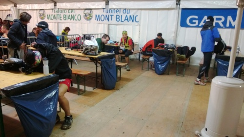2 am Sunday morning:  The party at the Vallorcine aid station.  Lively bunch we've got here.