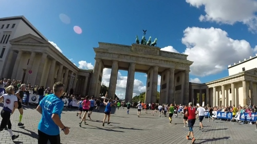 Approaching the Brandenburg Gate, at mile 26.